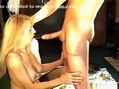Big boobed blonde usa girl closeup gagging blowjob on the living room floor