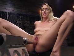 Hairy twat blonde fucking machine