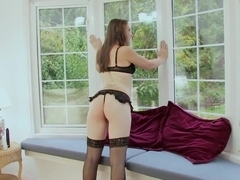 Long haired brunette junior MILF in lazy sexy solo