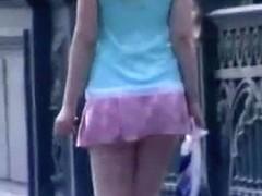 Car voyeur cam films upskirt blonde ass walking accross a bridge