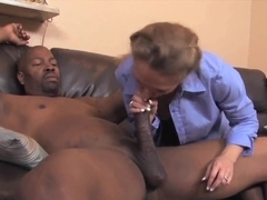 Mature Sara James takes on black pecker