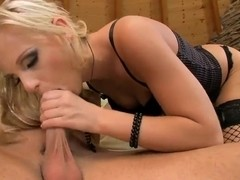 Barbie White kneels and gives great fellatio