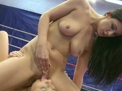 Wild lesbian loves nibbling on her opponents moist clit