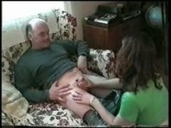 Hot brunette sucks older man