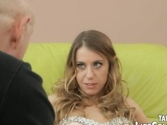 Angry husband stretches her woman's holes