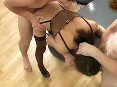 Group sex party in the kitchen