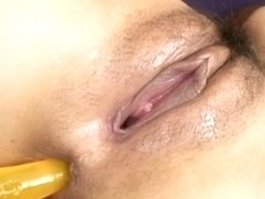 Shiho Kanou has her pussy fucked with a dildo up her ass