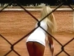 Tennis upskirt and downblouse with hot blonde