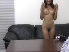Ebony chick with hairy pussy gets a mouthful of cum