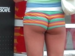 Super tight and super short shorts caught on cam