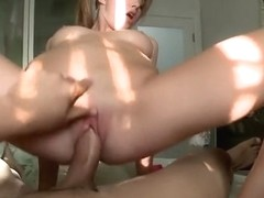 Blonde wench gets a nice jizz tonic all over her