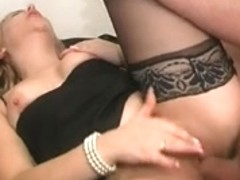French blond in nylons acquires unfathomable anal drilled