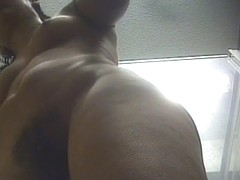 Slut with big ass showing her hairy pussy to the voyeur