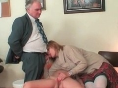 Granny and babe are sucking cock