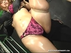 Busty Japanese hottie tortured by two guys