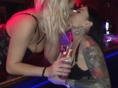 Tattooed guy and two gorgeous he has just met in the night club are fucking