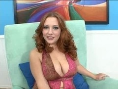 Redhead breasty & playgirl Rebecca Lane bonks on a couch sofa