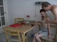 Russian Gal Engulf And Fuck With Dad For Breakfast