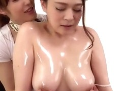 Japanese lesbian couple kissing