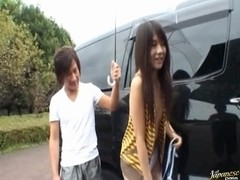 Chiwa Osaki Asian teen in hot outdoor action