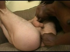 Interracial Strap-on (femdom, rimjob, ball squeezing)