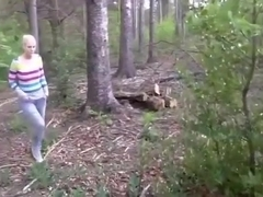 Blasting the motherload on a german girl's face in the forest !!!