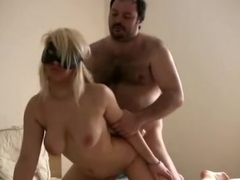 Busty blindfolded golden-haired banfged by a bulky guy