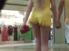 Blonde miniskirt fabulous upskirt!