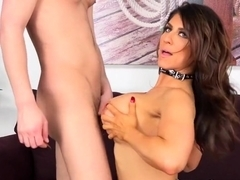 Buxom Raven Heart vibrates her clit then rides on his throbbing stiffy