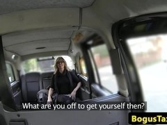 Glam taxi milf gagging on the drivers cock