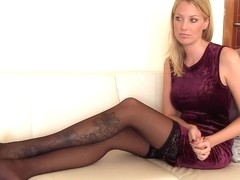 I'm posing in stockings in my homemade sextape clip