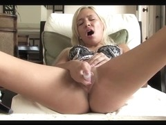 Blond with pink sex toy