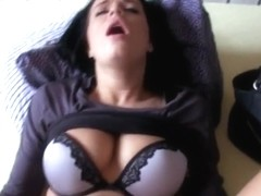 Busty amateur black haired Euro slut Vikky banged for money