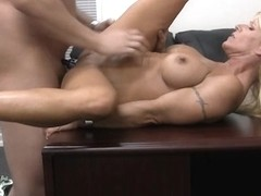 Big-breasted blonde is a remarkable cock sucker and dick rider