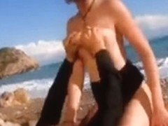 French guy fucking a sexy white tourist in public beach