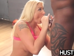 Slutty cheerleader Leya Falcon destroyed by anal interracial