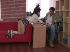 Pretty schoolgirl moaning on the big black stick