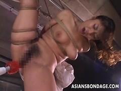 Kinky Asian babe in bondage receives a nasty dildo
