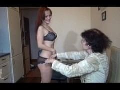 Skinny granny Veronika dicked with a dildo