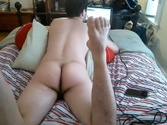 Seductive fagot is frigging in the apartment and shooting himself on web cam