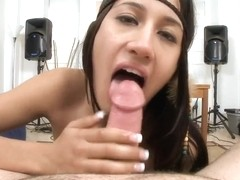 Amazing babe Amia Miley gives hot stud incredibly long hand job