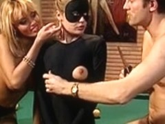 Catsuit gal joins Anita on the pool table