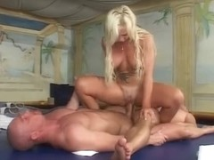 Titfuck and two cocks at once for yoga instructor