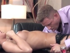 Karina White gets licked from top to toe at the office