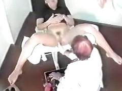 Voyeur gynecologist inspecting patient's wet hole