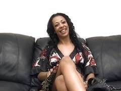 Slutty Ebony wench fucked and facialized at a fake porn casting