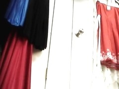 Voyeur changing room with a babe trying new outfits