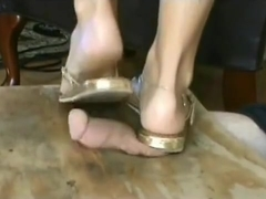 golden thongs sandals cock crush