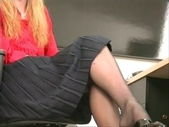 Slim hot golden-haired coworker undresses and plays with a sex tool at the office