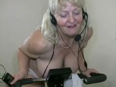 Obese granny working out
